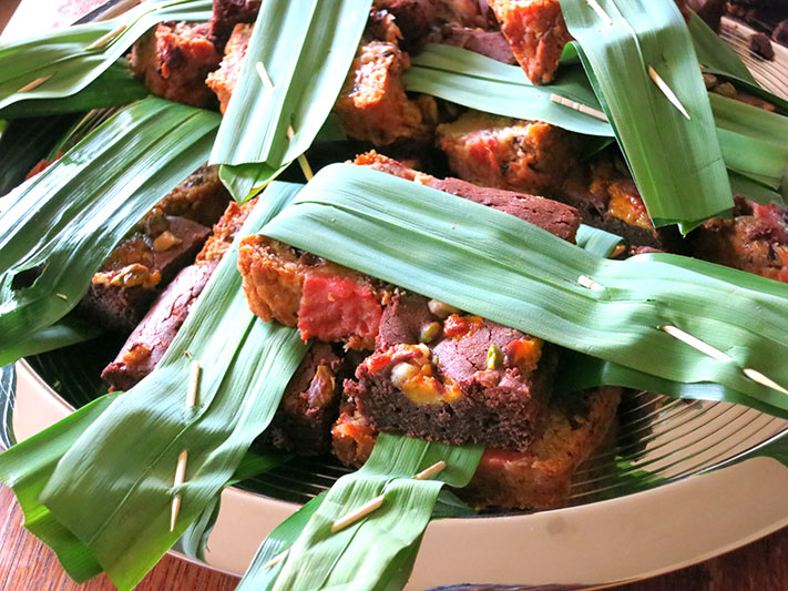 Plantain Chocolate Brownies and Guava Plantain Pudding in pandan leaves