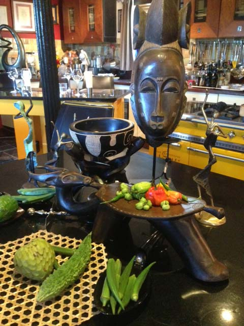African table display in the Novelli kitchen