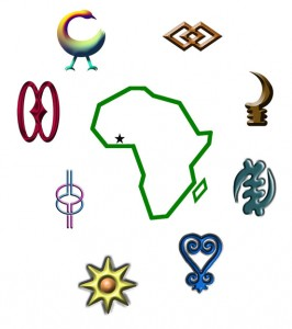 Adiinkra symbol and map of Africa