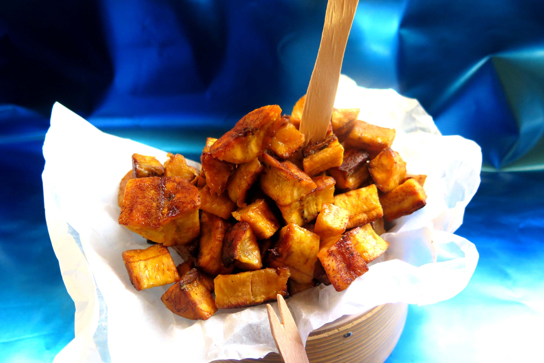 Kelewele - plantain, diced, spiced, baked