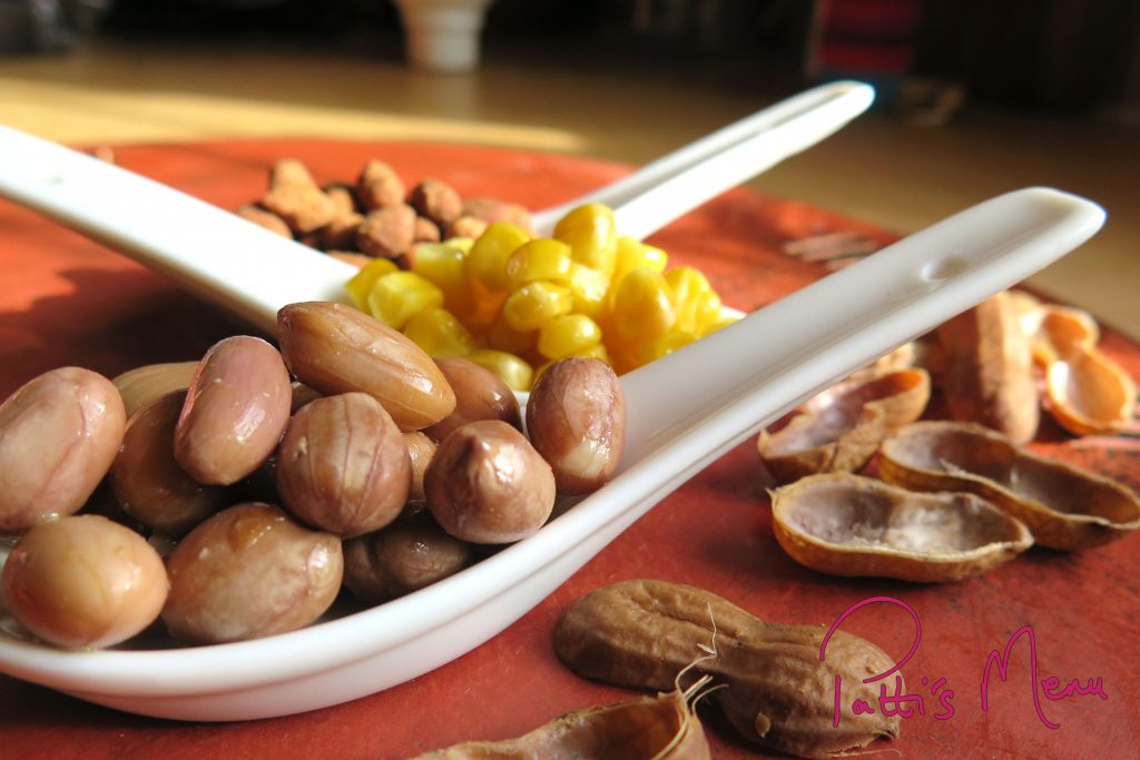Boiled monkey nuts with sweetcorn