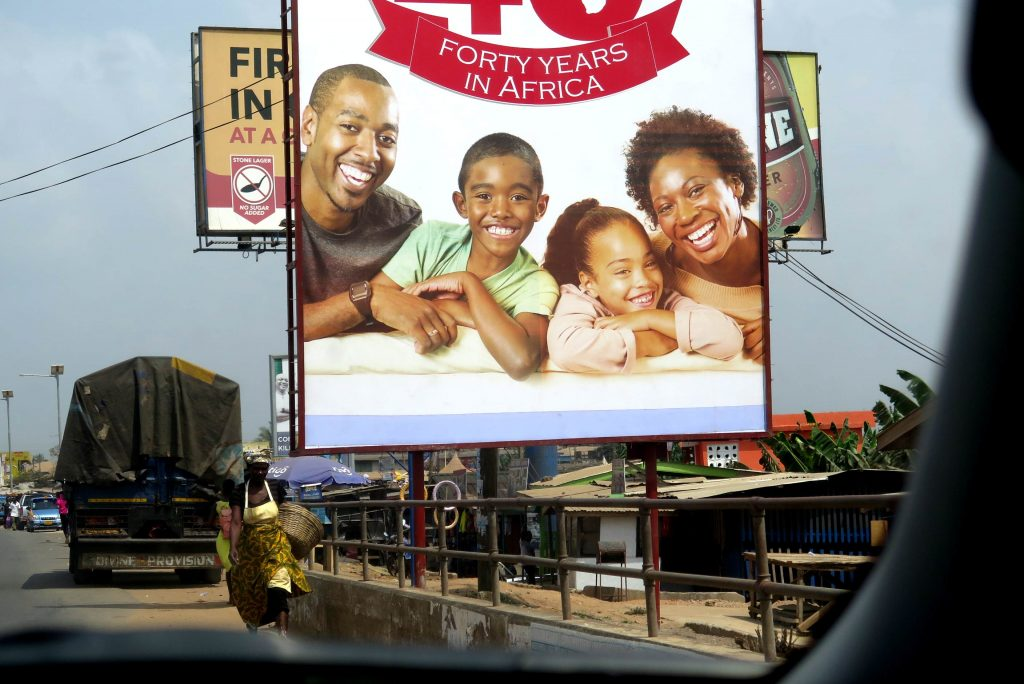 Hello and welcome to Ghana this billboard seems to say