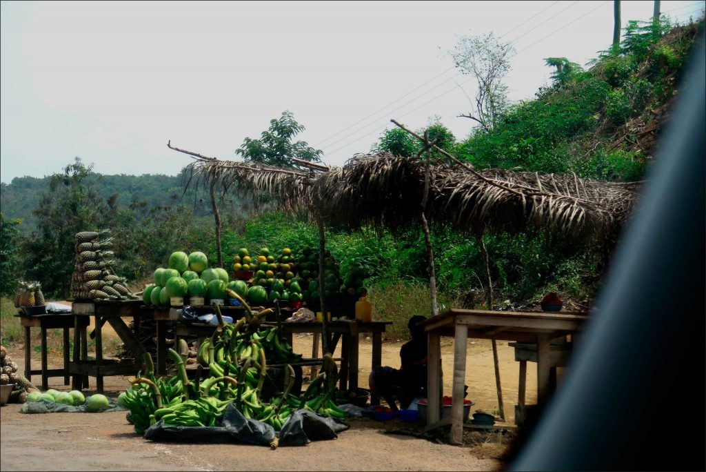 On the road to Takoradi a roadside stall with fresh fruits